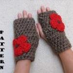 Fingerless gloves with Red Flowers ..