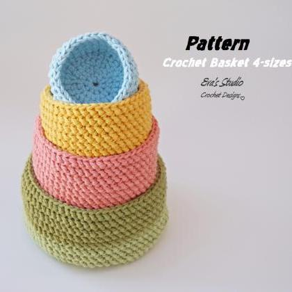 Crochet basket - 4 sizes, crochet p..