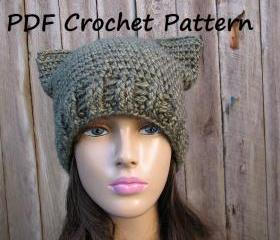CROCHET PATTERN!!! Cat Hat - Slouchy Hat 3cd147d442d