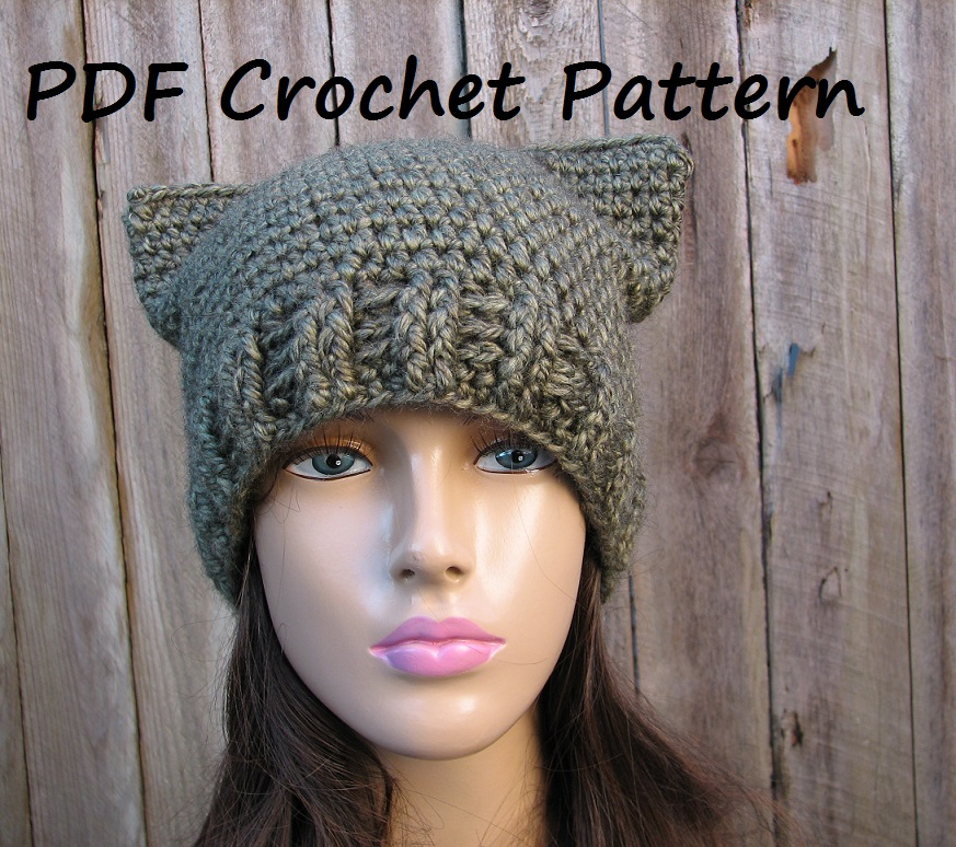 CROCHET PATTERN!!! Cat Hat - Slouchy Hat, Crochet Pattern PDF,Easy ...