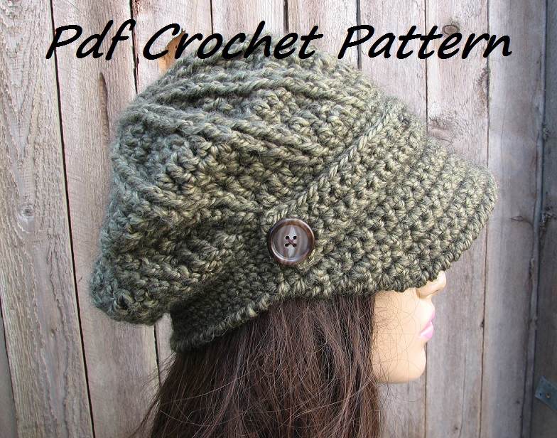 CROCHET PATTERN!!! Crochet Hat - Newsboy Hat, Crochet Pattern PDF,Easy, Great for Beginners, Pattern No. 68