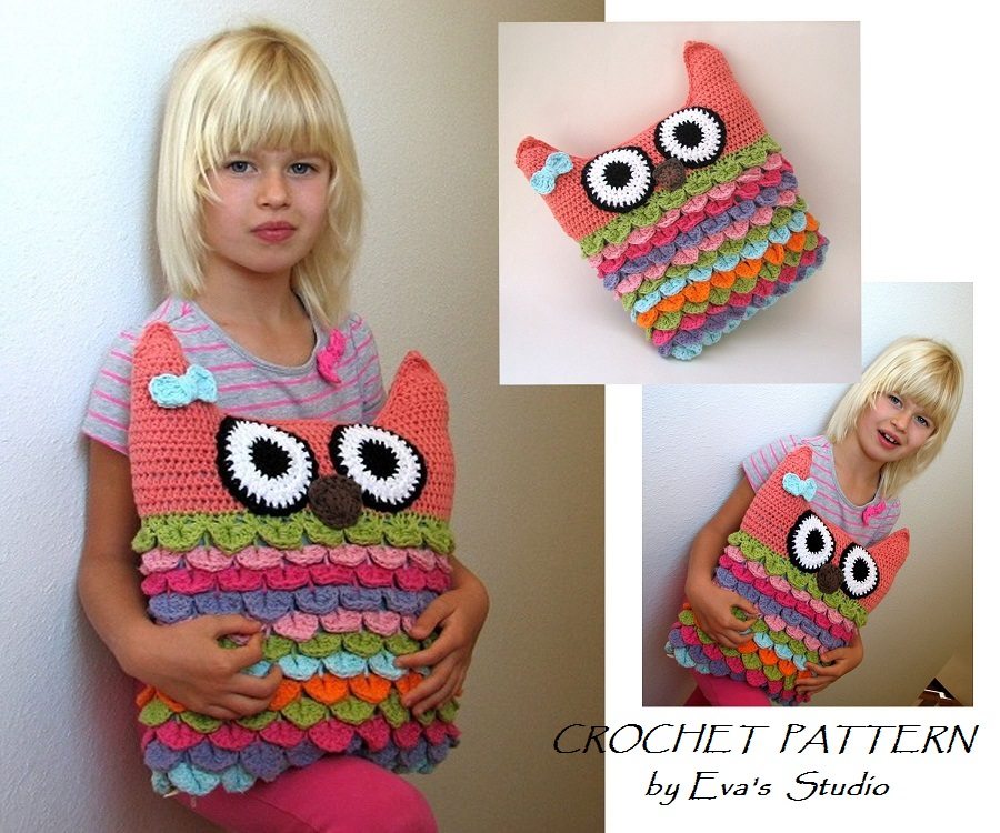 Crochet Owl Pillow Pattern Pdf Crochet Pattern Owl Pillow Owl