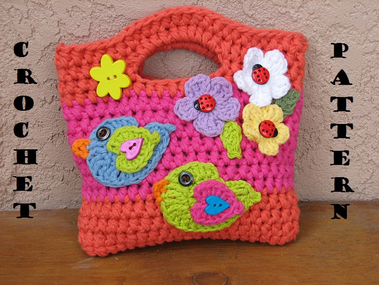 Girls Bag   Purse With Birds And Flowers  7e76b7686a7a8