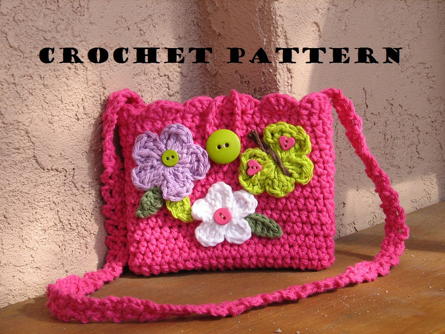 Girls Bag   Purse With Butterfly And Flowers f82bd0acfe338