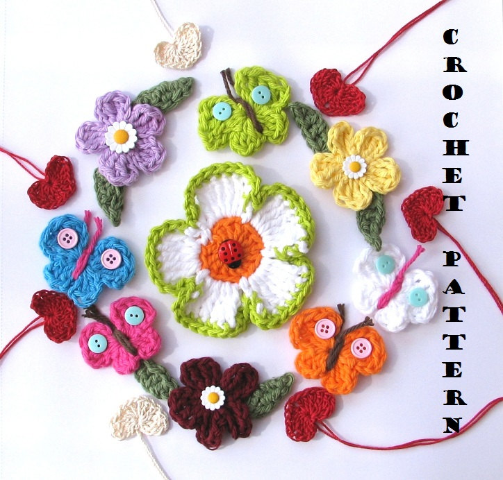 Crochet Pattern Appliques Flowers Heart Butterfly Easy Great