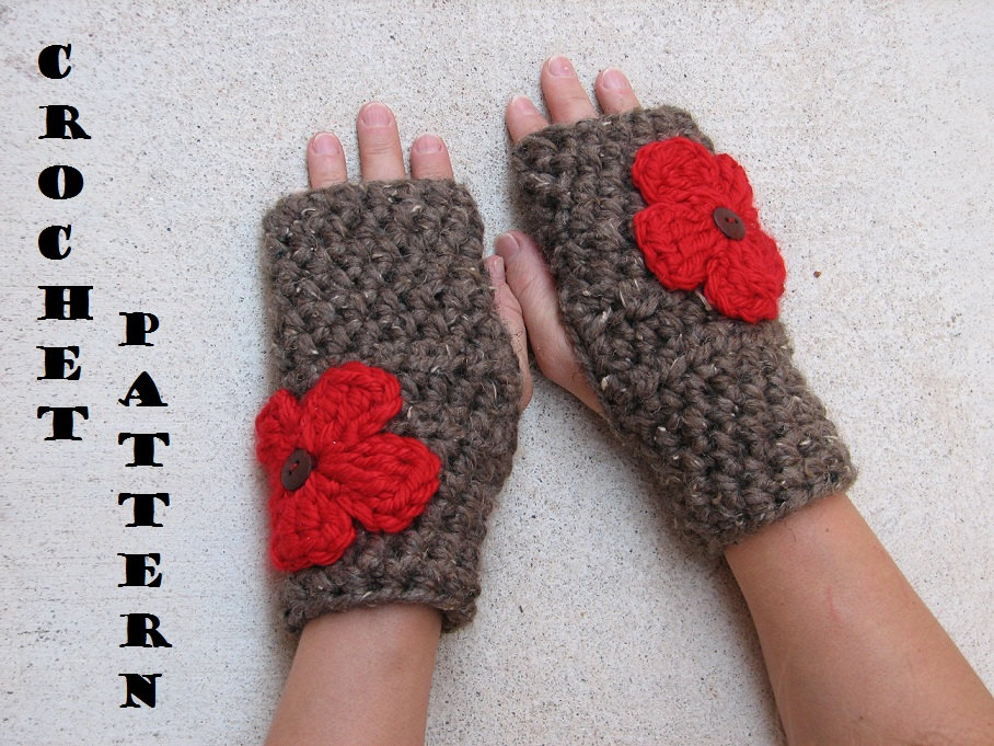 Fingerless Gloves With Red Flowers Crochet Pattern Pdf Quick And