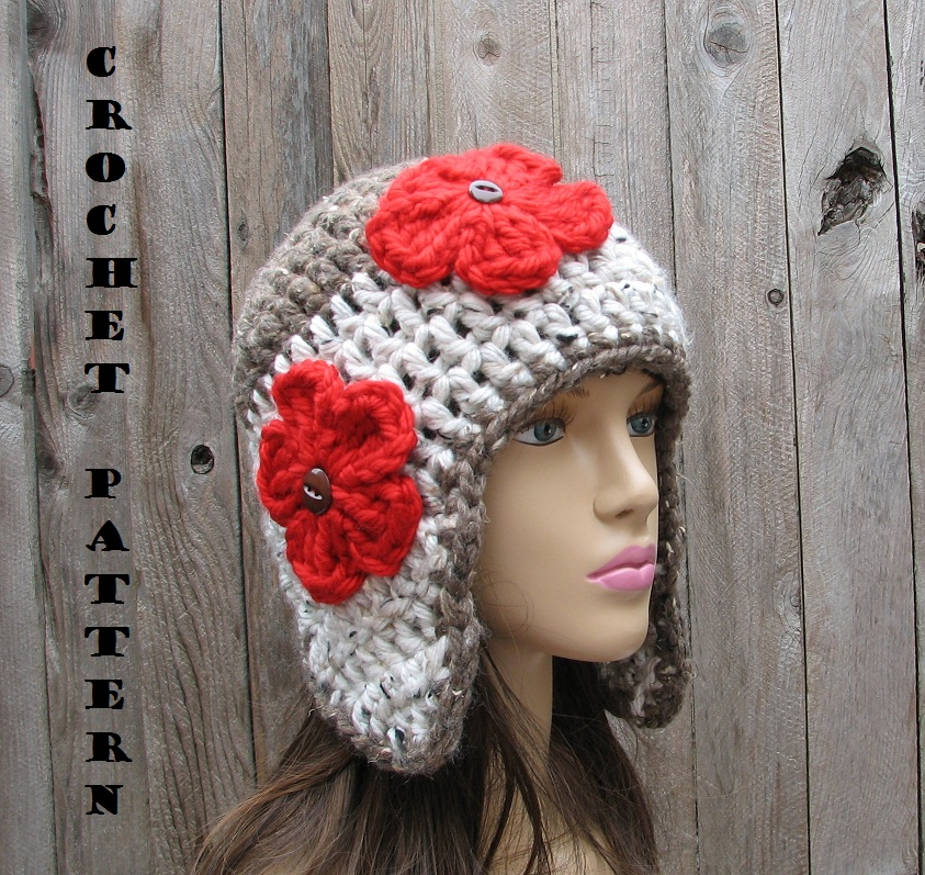 Crochet Ear Flap Hat - Crochet Pattern PDF,Easy, Great For Beginners ...