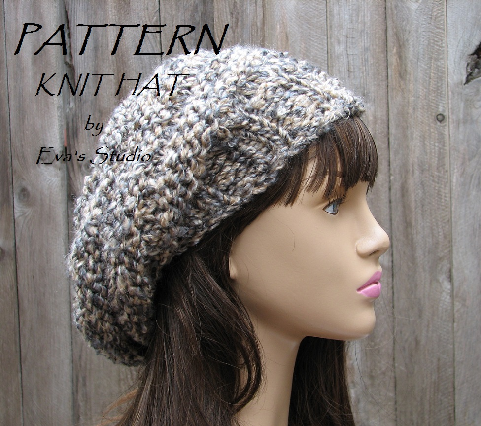 PATTERN!!! Knit Hat - Slouchy Hat, Crochet Pattern PDF,Easy, Great ...