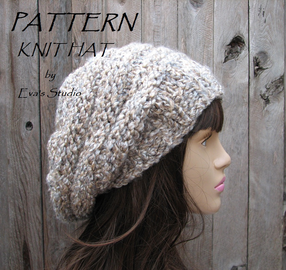 PATTERN!!! Knit Hat - Slouchy Hat, Knit Pattern PDF,Easy, Great For ...
