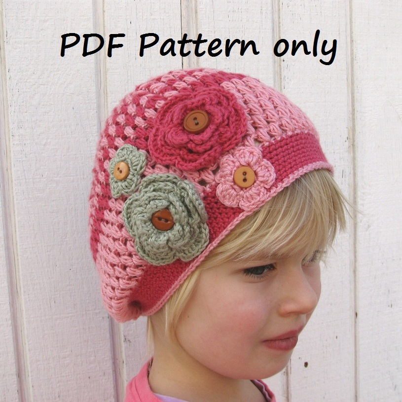 Crochet Pattern - Slouchy Spring Girls Hat, Crochet Pattern PDF, Pattern No. 45
