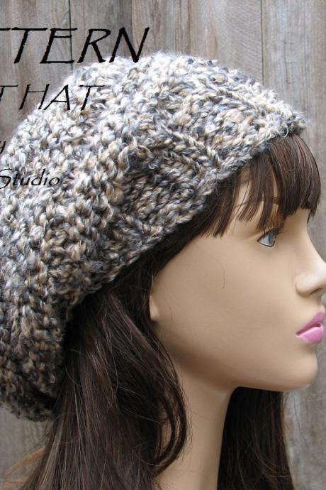 PATTERN!!! Knit Hat - Slouchy Hat, Crochet Pattern PDF,Easy, Great for Beginners, Pattern No. 89