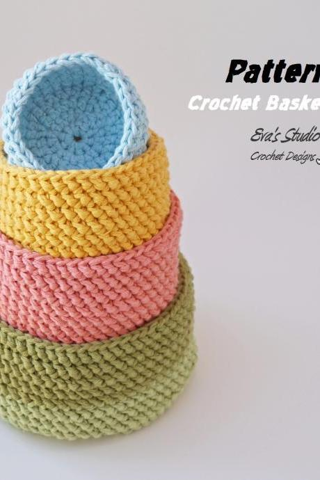 Crochet basket - 4 sizes, crochet pattern, easy, Crochet Pattern PDF, Great for Beginners, Pattern No. 91