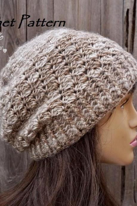 Crochet Hat - Slouchy Hat, Crochet Pattern PDF,Easy, Pattern No. 80