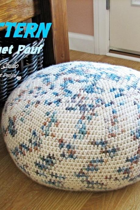 Pattern Crochet Pouf Pdf Floor cushion Patterns Crochet Pattern Pattern Pouf Ottoman Pattern