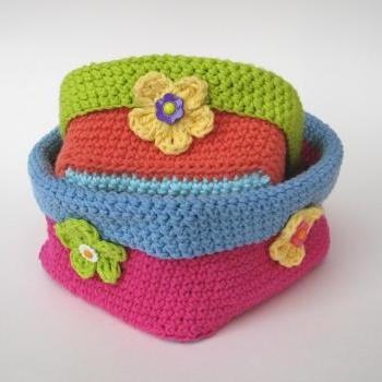 Crochet square basket - 2 sizes, crochet pattern, easy, Crochet Pattern PDF, Great for Beginners, Pattern No. 58
