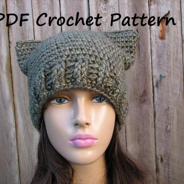 CROCHET PATTERN!!! Cat Hat - Slouchy Hat, Crochet Pattern PDF,Easy, Great for Beginners, Pattern No. 63