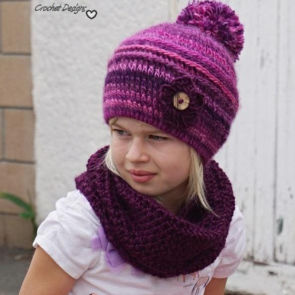 Crochet Childrens Hat And Neck Warmer Crochet Set Pattern Pdf