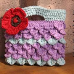 Girls Bag / Purse with Large Flower , Crochet Pattern PDF, Pattern No. 8
