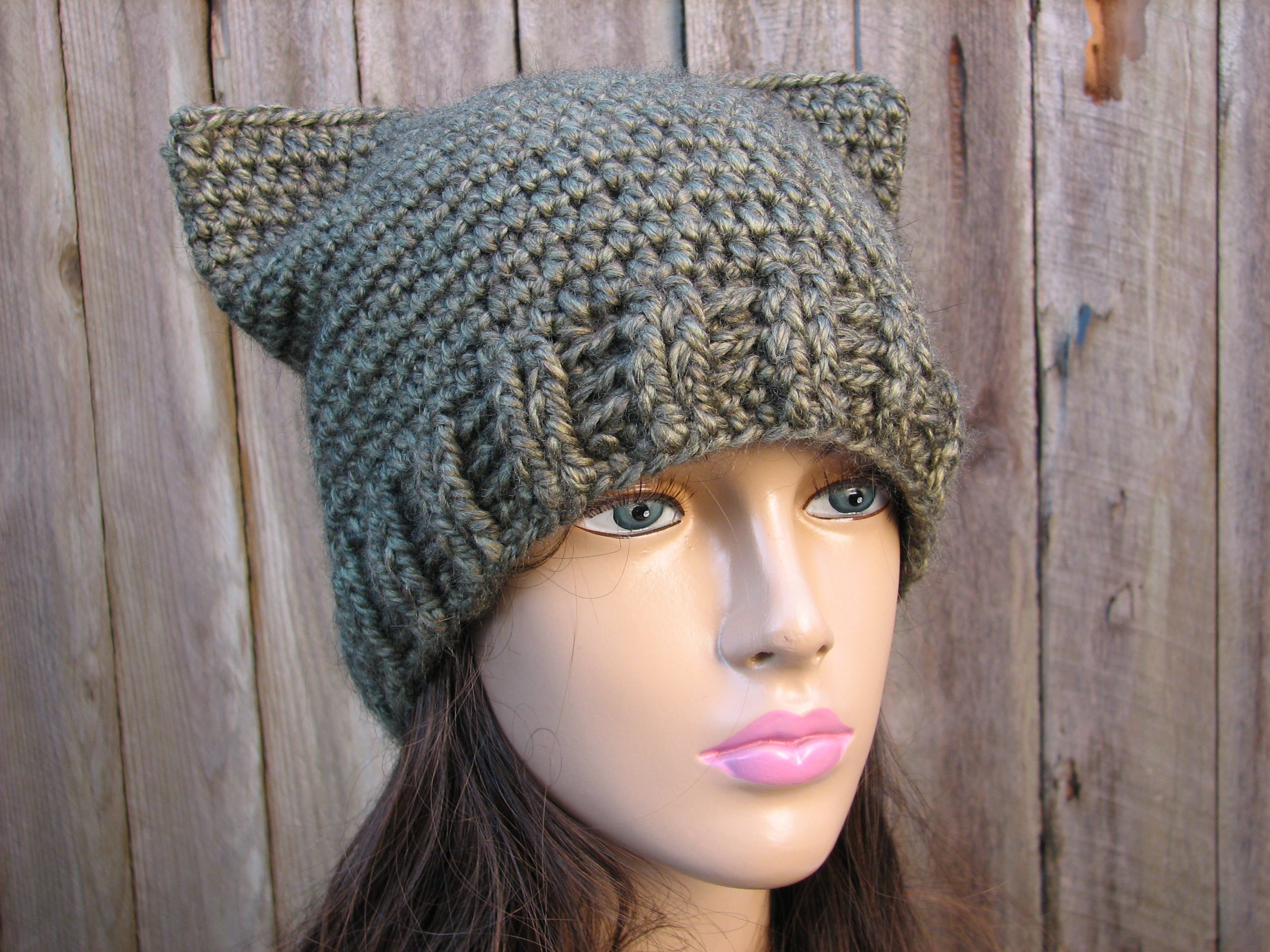 CROCHET PATTERN!!! Cat Hat - Slouchy Hat 2ac3d112562